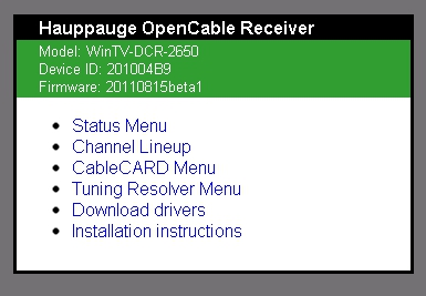 HAUPPAUGE OPENCABLE RECEIVER DRIVER FOR PC