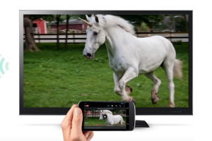 TV with Unicorn being streamed from a phone