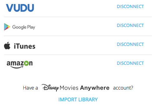 Movies Anywhere Manage Retailers