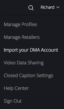 Movies Anywhere account menu