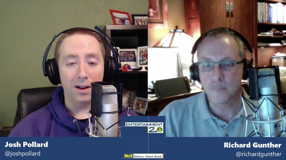 Screen grab of Josh and Richard recording Entertainment 2.0