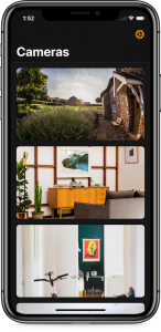 HomeCam Cameras view showing multiple camera pictures
