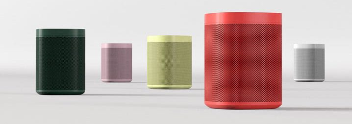 Five Sonos One Hay color speakers: Vibrant Red, Forest Green, Pale Yellow, Light Grey, and Soft Pink