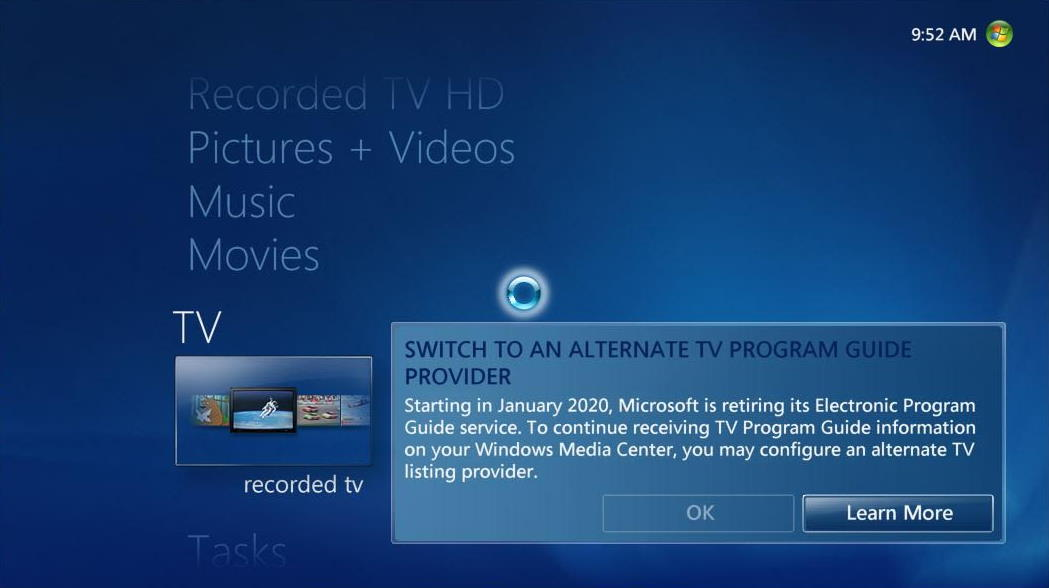 Microsoft is Killing Windows Media Center Guide Data
