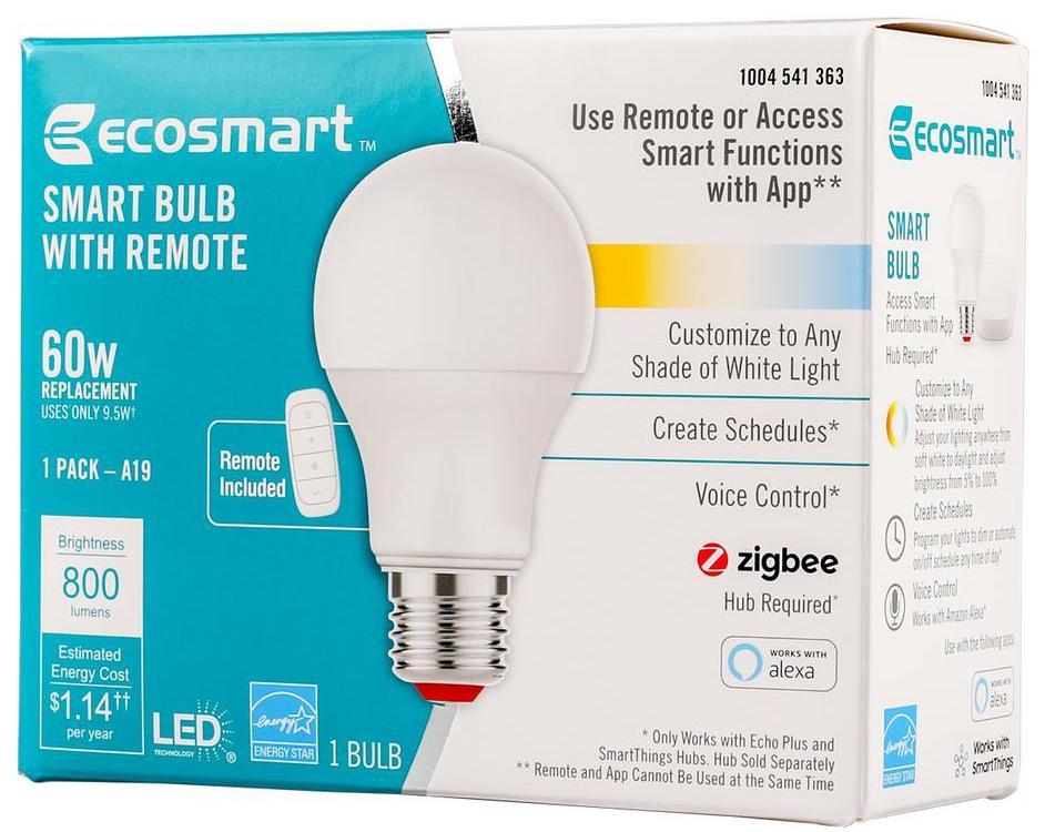 Color Temp Echo Alexa Zigbee SmartThings 60W EcoSmart Smart Bulb w// Remote