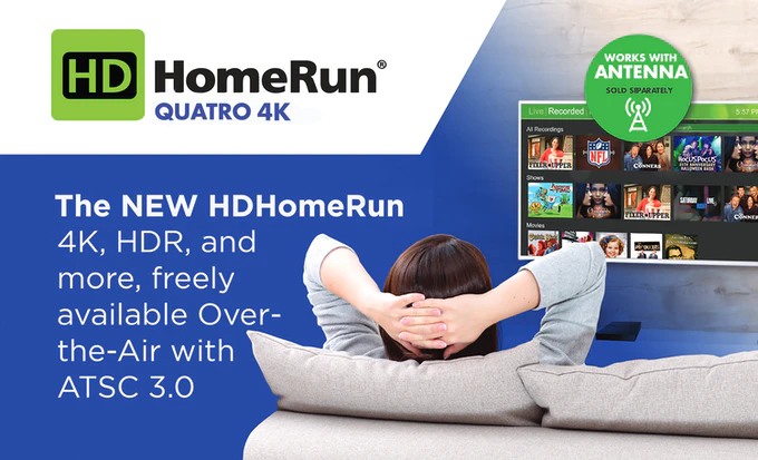 Product promo card for the HDHomeRun Quatro 4K for ATSC 3.0 over-the-air TV