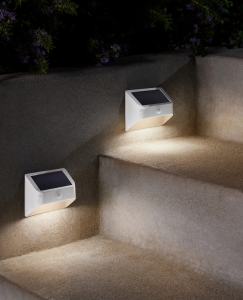 Two new solar lighting steplights mounted to the side of steps.
