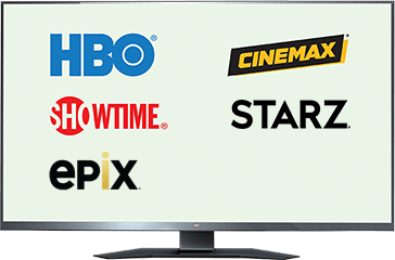 TV showing logos of HBO, Showtime, Epix, Cinemax, and Starz