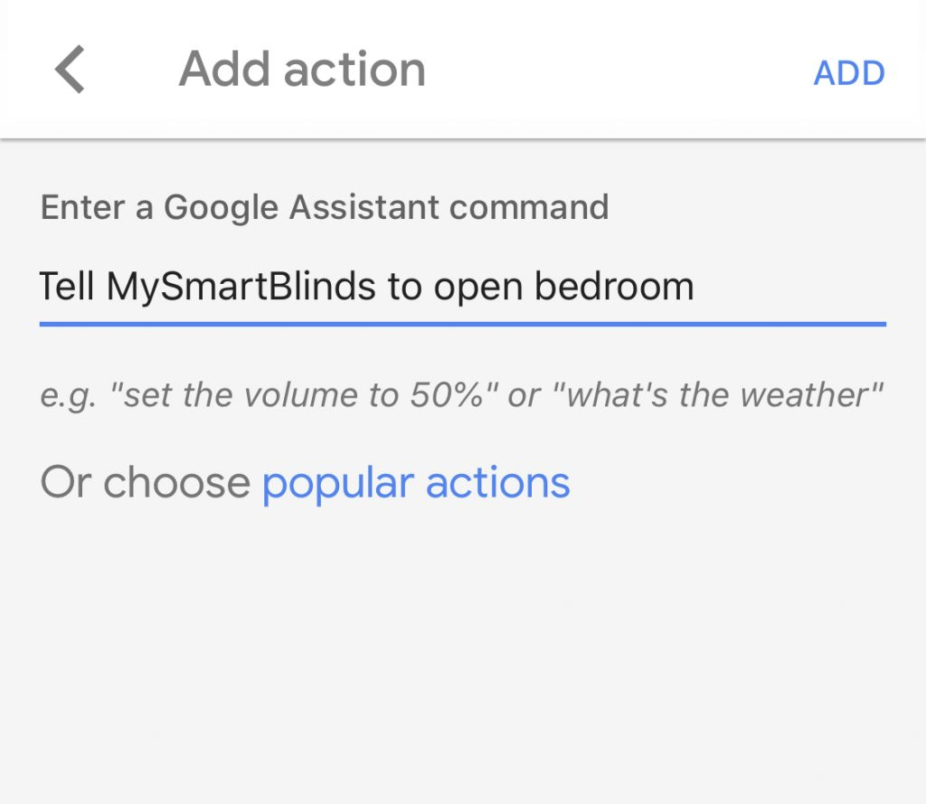 MySmartBlinds routines settings for Google Assistant